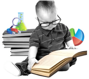 мальчик в очках читает книгу