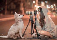 девушка фотографирует щенка